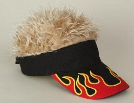 Hair on Buy Flair Hair Visor Hat Golf Blonde Flame Wig Cap Fake At Atomicmall